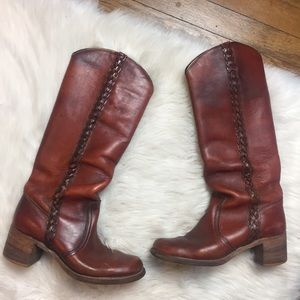 Vintage Frye Tall Braided Boots